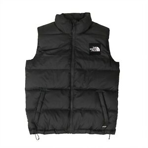 NWT THE NORTH FACE Grey Collared Nuptse Vest Embroidered Logo Jacket Size L