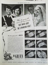 1939 Antique Gruen Wristwatch Watch Bride Graduation Graduate Original Ad