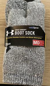 Under Armour Grey Boot Socks - 2 Pack Size - Medium (4-8.5)M; (7-10.5)W - NEW