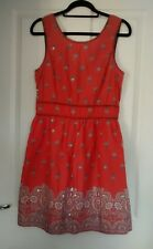 NEW LOOK WOMENS SALMON PINK SILVER SEQUINED FLORAL SKATER COTTON DRESS SIZE 14