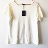 JAEGER Cream Smart Work Separates Blouse Top 12 14 Lace Slv Summer Occasion £85