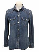J. Crew Women's Size S Denim Shirt Long Sleeve Pearl Snap Up Blue Western Top