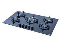 Island Sapphire 905i 5 Burner 90cm Built-in Black Ceramic Glass Gas Hob with FFD