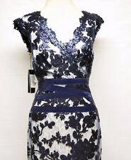 $348 NWT Tadashi Shoji nvy ivory Banded waist Sequined Lace cocktail Dress sz 8