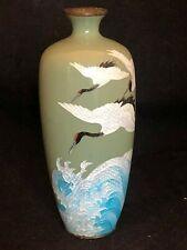 Vase Japonais Cloisonné & Incrustations A Décor de Vagues & Oiseaux Ancien Japon