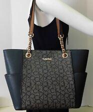 "Calvin Klein Black & Khaki Monogram Shoulder Bag Handbag Tote Purse ""NWT"""