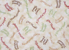 BOUNTIFUL BLESSINGS THANKSGIVING PHRASES QUILTING TREASURE FABRIC  BY THE YARD