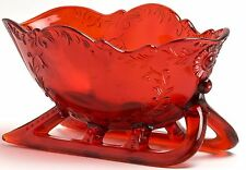 Sleigh Dish - Christmas Holiday - Red Glass - Mosser USA
