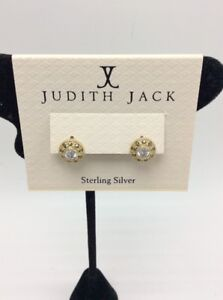 $65 Judith Jack sterling silver gold plated Marcasite button stud earrings J21