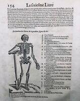 Rare 1614  Gravure Squelette Anatomie Ambroise Paré Chirurgie Médecine