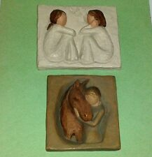 2 WILLOW TREE Susan Lordi 3D Wall Plaques / Tiles ~ FRIENDSHIP + QUIET STRENGTH