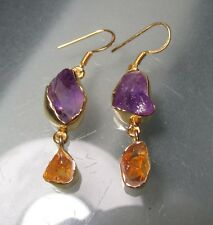 Sterling silver & 18k gold plating rough amethyst & citrine earrings. Gift bag.