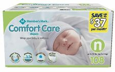 Member's Mark Comfort Care Baby Diapers Newborn Up To 10 Lbs 108 Ct Flexible