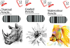 Artist Pencils For Drawing Sketching 12 Pack Charcoal Watercolour Graded ART UK