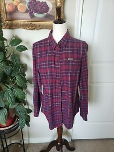 Indian Motorcycle Women's Red Button Plaid Shirt- SZ Large With Embroidered Logo