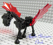 NEW Lego Castle Black SKELETON HORSE Kingdoms Minifig Animal w/Trans Red Wings