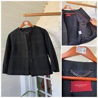 Women's Burberry London Black Plaid Check Blazer Jacket Sz - 40