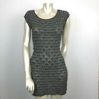 Free People Women's Small Fitted Mini Dress Short Sleeve Black/White Sheer Dress