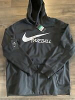 NWT MENS Nike Baseball Hoodie Sweatshirts Fleeced DRI-FIT BQ6456-010 Black