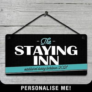 Personalised The Staying Inn Bar Sign Plaque Man Cave Gift Beer Lockdown Home