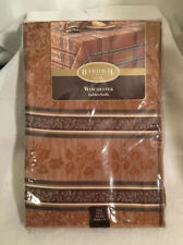 """New 70"""" Round Tablecloth Winchester Bardwil Linens Copper Color Patterned"""