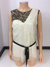 3.1 Phillip Lim 100% Silk Blouse Top Shirt Sleeveless Size Us 4 Uk 8 Sequin
