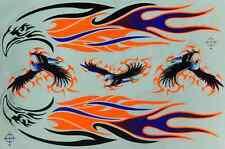 N-107 Adler Flammen Aufkleber Sticker 1 Bogen 27 x 18 cm Racing Tuning