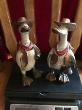 Preowned Pair Of Resin Duck Cowboy Figurines