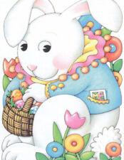Easter Bunny Basket Eggs Flowers-Handcrafted Fridge Magnet-W/Mary Engelbreit art
