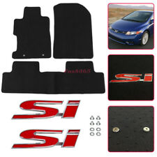 Fit 06-11 Honda Civic Floor Mats Black Carpets Nylon w/ Screw on Si Metal Emblem