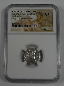 MACEDON KINGDOM Alexander III the Great 336-323 BC Drachm NGC VF EarlyPosthumous