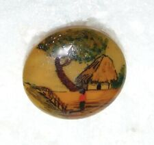 Medium Handpainted Vegetable Ivory Hut, Tree & Man Button #1127