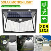 Solar Powered 208LED PIR Motion Sensor Wall Security Light Garden Outdoor Lamp