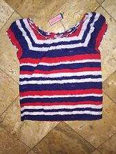 NWT Vineyard Vines America Sexy Off Shoulder Striped Tunic Blouse Top Women's M