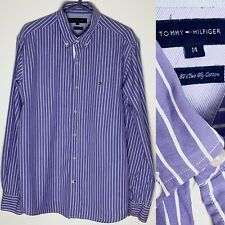 TOMMY HILFIGER Purple/White Stiped Shirt - 80s Two Ply Cotton Violet Mens Medium