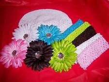 WHOLESALE LOT newborn baby CROCHET kufi HAT 5 DAISY HEADBANDS great SHOWER GIFT