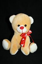 "Just For You Meagtoys Valentines Stuffed TEDDY BEAR 7"" Tan Plush Red Nose Bow"