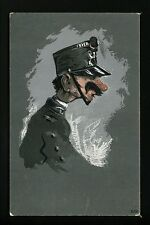 Military Postcard Police Caricature French Italian officer mustach Comical #519