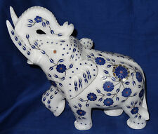 White Marble Decorated Elephant Statue Lapis Lazuli Inlaid Floral Work Handmade