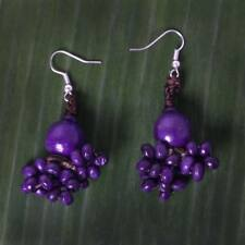 New Purple Wooden Earring Flower Style Thailand Handcrafted Design For Women