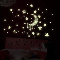 star moon glow in the dark luminous ceiling wall stickers kids bedroom decal JB