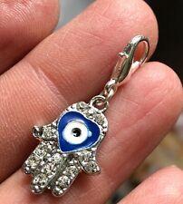Heart Hamsa Hand Indigo Blue Swarovski Crystal Elements Eye Clip Charm Silver