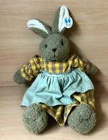 """Van Cleef Girl Bunny Rabbit Soft Toy Plush Beanie Wearing A Dress With Tags 14"""""""