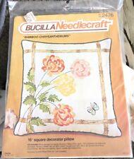 New listing Nip Bucilla Needlecraft Crewel Kit #2476 Bamboo Chrysanthemums Decorative Pillow