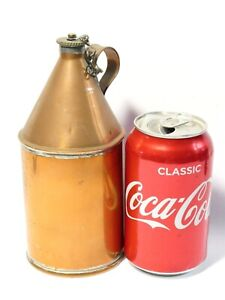 """Antique Copper Flask Jug with Chained Screw Top Lid Lead Solder Joints 7"""""""