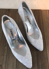 Caparros White Sequin Formal High Heels Wedding Formal Event 7.5 #E3