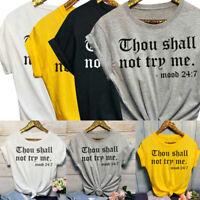 "Women Fashion ""Thou Shall Not Me"" Funny T Shirts Saying Short Sleeve Tops"
