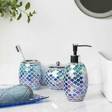 4Pc Blue Mosaic Glass Bathroom Accessory/Accessories Set w Soap Dispenser/Dish