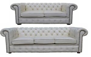 Chesterfield New English 3+2 Seater Real White Leather Sofa Settee Suite Couch