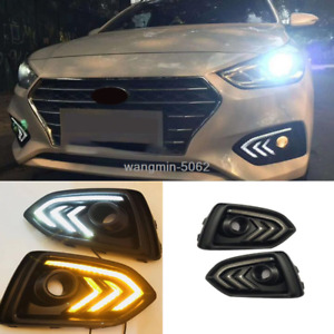 Daytime Running Lights For Hyundai Accent 2018 2019 2020 LED Front fog lamp DRL